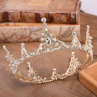 Round Gold Tiaras Bridal Crowns Wedding Hair Accessories Crowns And Tiaras Crystal Diadem Party Headpiece Girl's Headbands