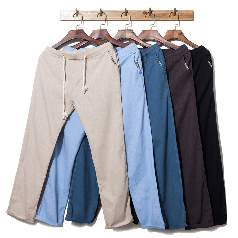 New Thin Linen Men Pants Male Commercial Loose Casual Business Trousers Men's Clothing Straight Fluid Man Pants Import Clothes