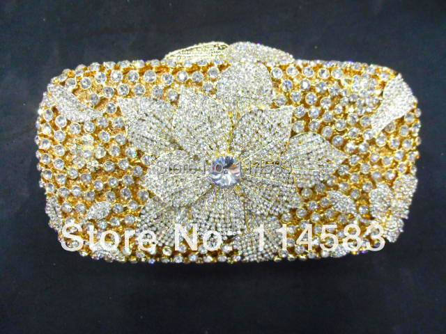 #8224GD Crystal Flower Floral Lily Bridal Party GOLD hollow Metal Evening purse clutch bag handbag