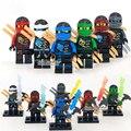6 UNIDS Compatible LegoINGlys NinjagoINGlys Juegos Kai Jay Cole Zane Nya Lloyd Con Armas NINJA Heroes Acción y Del Juguete Figuras bloques
