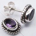 Silver Real PURPLE AMETHYST Oxidized Indian Jewelry Studs Earrings 0.9 CM