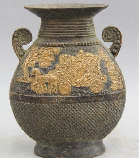 """JP S0524 6"""" Marked Chinese Dynasty palace Bronze Gild Horse vehicle Flower Bottle Vase"""