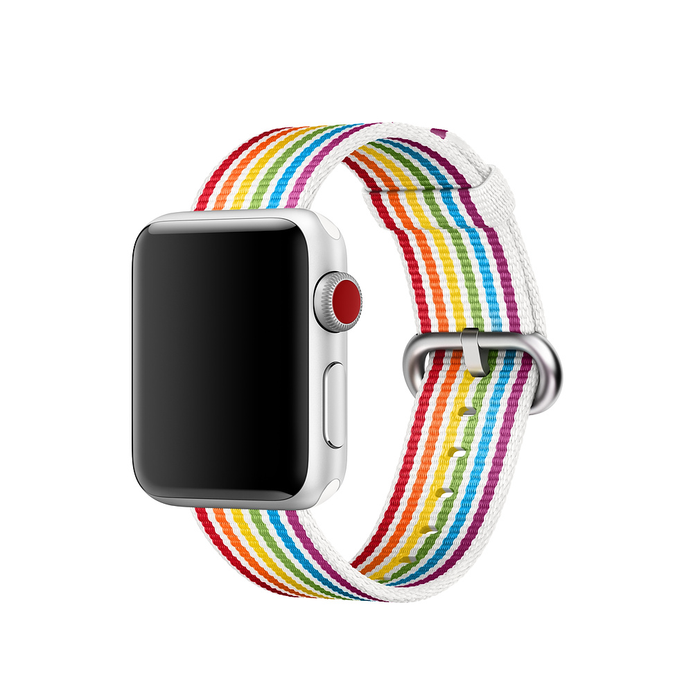 Rainbow stripe woven nylon band for apple watch series 4 44mm 40mm fashion bracelet watchband for Rainbow color stripe watch