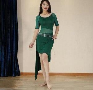 Image 4 - 2019 Cheap One Piece Modal Dress Bellydance Outfit Sexy Mesh Oriental Dance Practice Show Skirt Black Long Sleeve