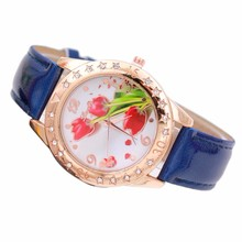 Casual Women Watches Unisex Lady Sports Clock Women's Leather Rose Flower Pattern Quartz Wrist Watch Timer