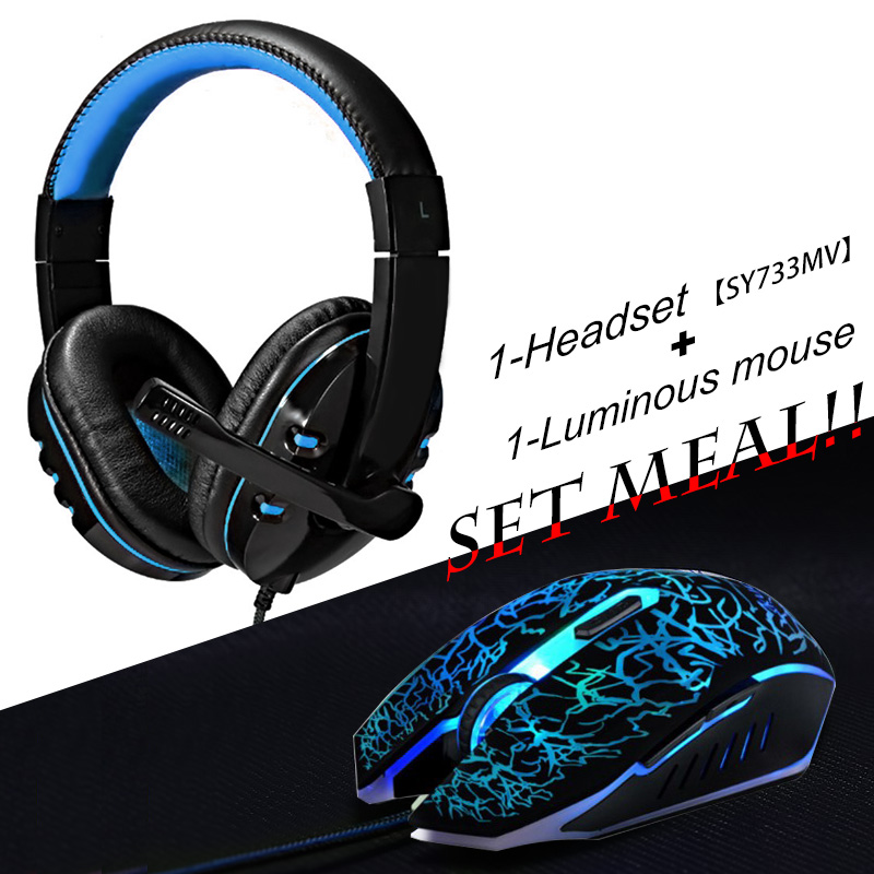 2pcs/combo Soyto No.733 Gaming Headset Headphones with Mic + USB Optical Wired Gaming Mouse mice for Computer PC Pro Gamer usb earphone headphones with mic call center computer usb headset customer service headset for pc laptop skype chat gaming