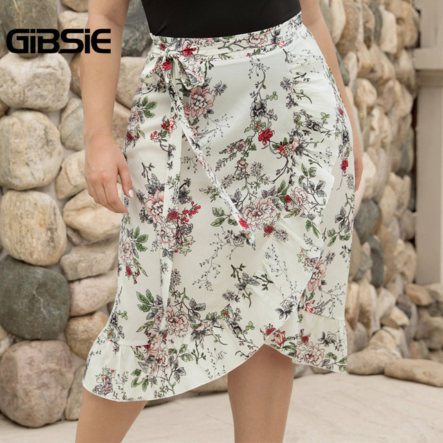 GIBSIE Plus Size Women Knee Length Ruffle Skirt Elegant Floral Print Midi Skrits Womens Summer Casual High Waist Skirt with Belt 3