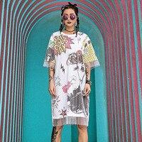 2019 Summer New Women Dresses Two Fake Gauze Mesh Short Sleeve Long T Shirts Tee Dress Printed Exploding Head Streetwear V415