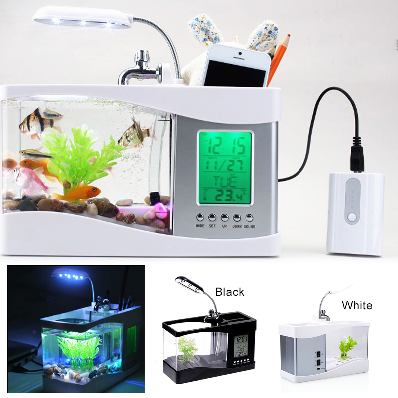 Lumière LED mode petit Aquarium Aquarium Aquarium Mini Aquarium pour bureau Durable poisson rouge bol lampe famille calendrier perpétuel