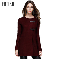 FATIKA 2017 Autumn Winter New Fashion Women Knitwear 2017 Long Solid Color Button Cardigans O Neck