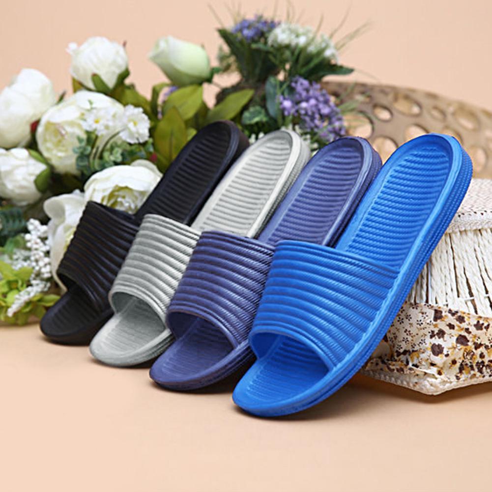 Solid Color Men's Slip On Sandals Anti-slip Slippers Flip Flop Shower Shoes
