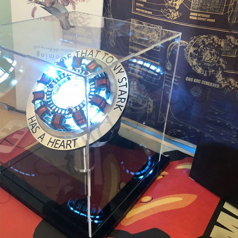 Avengers 1:1 DIY Iron Man Arc Reactor Remote Light Action Figure Arc MK Iron Man DIY Model Assembled Chest Lamp Toys
