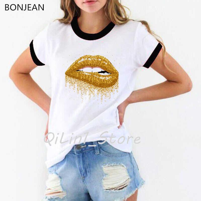 Make Up Estetica della MAGLIETTA delle donne Sexy Labbra Glitter Oro Della Stampa Della maglietta Pride Lgbt femminile t-shirt Amore Gay Lesbiche sexy labbra top