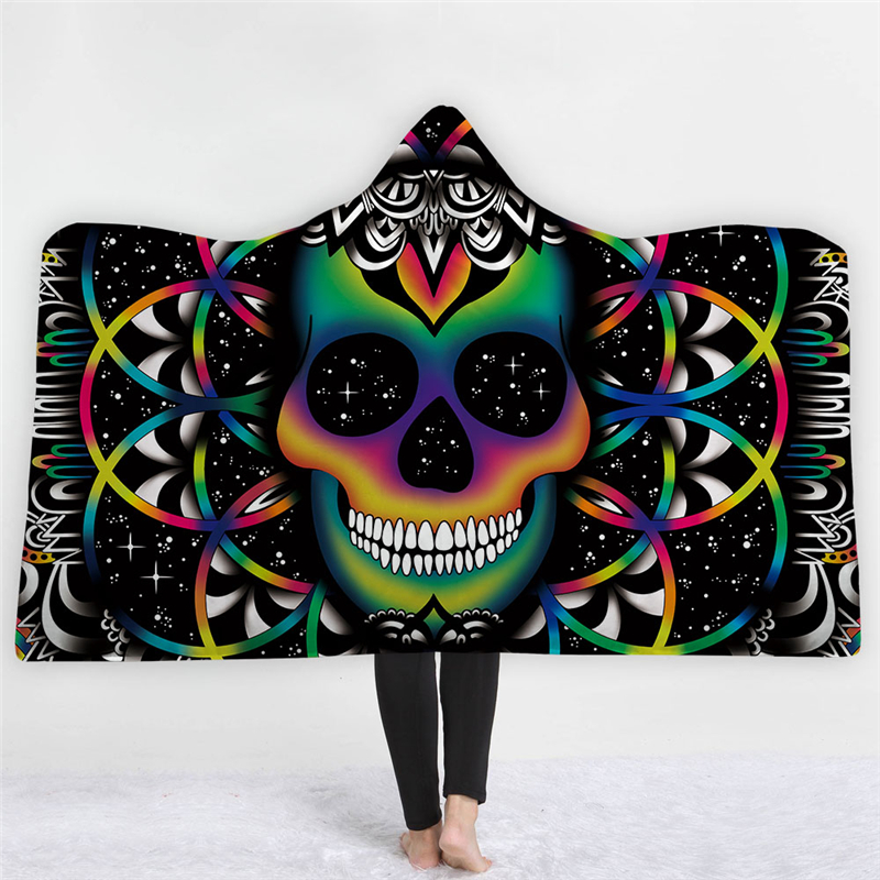 hooded blanket for adult kids gothic colored sugar skull sherpa fleece wearable throw blanket. Black Bedroom Furniture Sets. Home Design Ideas