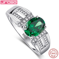 Jrose 2.0ct Nano Laboratory Created Emerald Solid 925 Sterling Silver Rings For Women 100% Solid Silver Ring Amazing With box