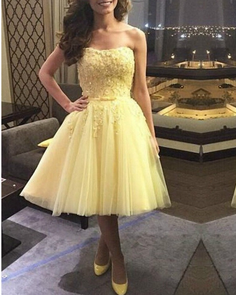 Knee Length Yellow Prom Gown Special Occassion font b Dress b font font b Cocktail b