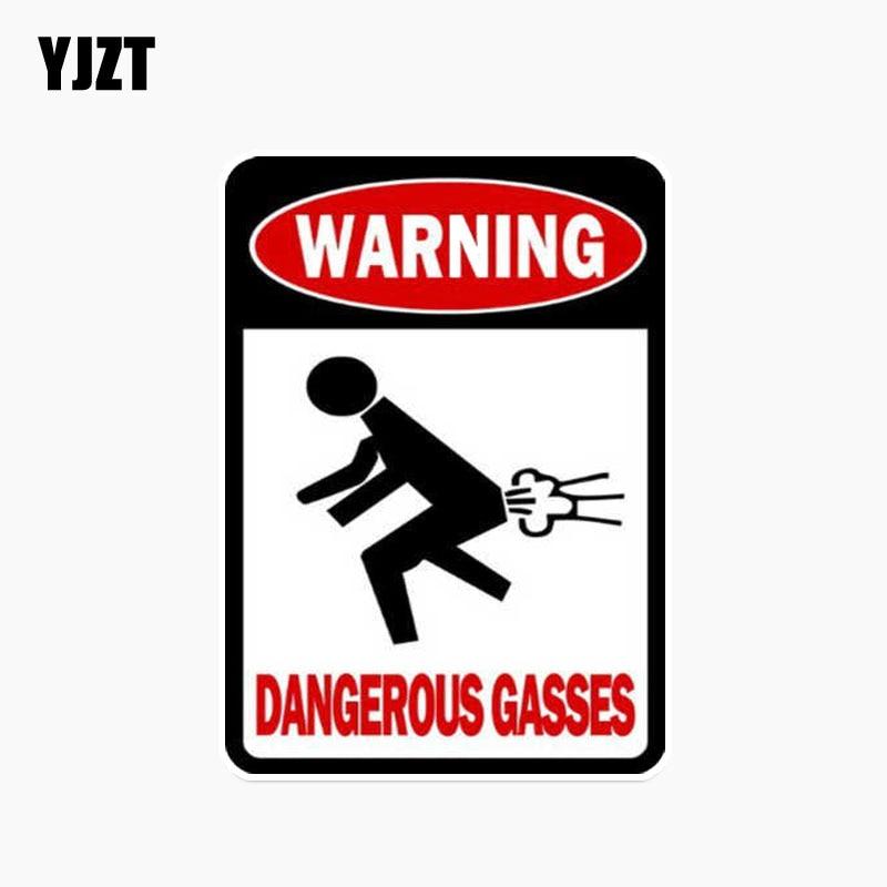 YJZT 8.3*12.3CM Warning Dangerous Gasses PVC Funny Car Sticker Decals C1-3001