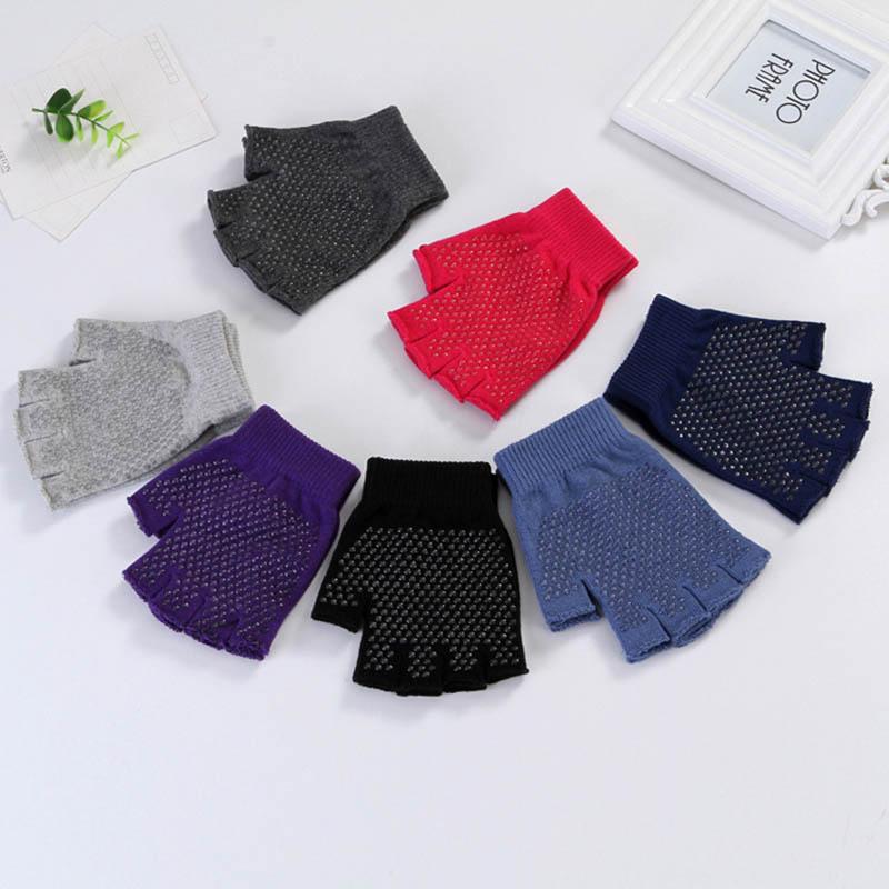 Fashion Unisex Men Women Gym Anti Slip Fingerless Knitted Cotton Warm Gloves Grip Sticky For Sport Yoga Half Finger Gloves B53