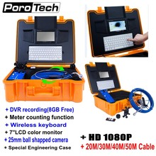 20/30/40/50M Cable Industrial Endoscope Underwater Video Camera HD 1080P Pipe Wall Sewer Inspection System with Meter Counter H1