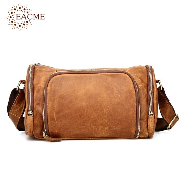 Eacme Stylish Vintage Men Messenger Bags Crazy Horse Leather Shoulder Bag Casual Travel For