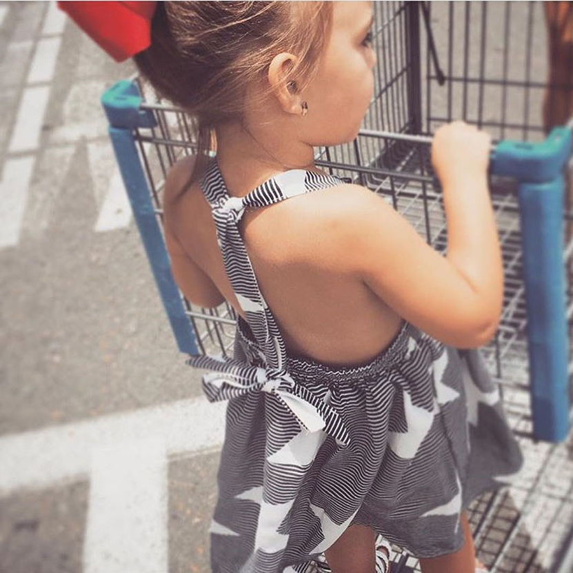 Hot Sale Girls Dress Fashion New 2017 Star Stripe Baby Bow Dress Summer Style Kids Children