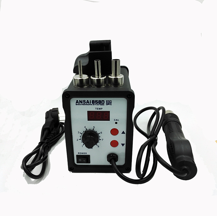 Free shipping ANSAI soldering heat gun  hot air gun Soldering solder station 858D  and 700W Power consumption dhl free shipping hot sale 220v hakko fx 888 fx888 888 solder soldering iron station with 10 free tips 900m t