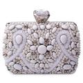 Prata Frisado Noite saco de Diamantes, tridimensional bolsa saco Do Partido bolsa embreagens sacos de Noiva Bolsa Hard Case