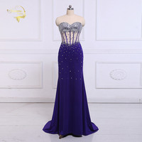 Jeanne Love Formal Long Evening Dresses Elegant 2019 Transparent Mermaid Sexy Shiny Woman Evening Dress Robe De Soiree OL5218