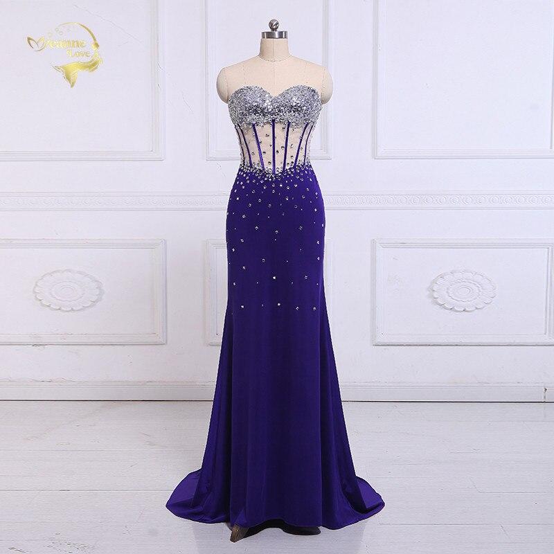 Jeanne Love vestidos De noche largos formales elegante 2019 transparente sirena Sexy brillante Mujer vestido De noche bata De noche OL5218