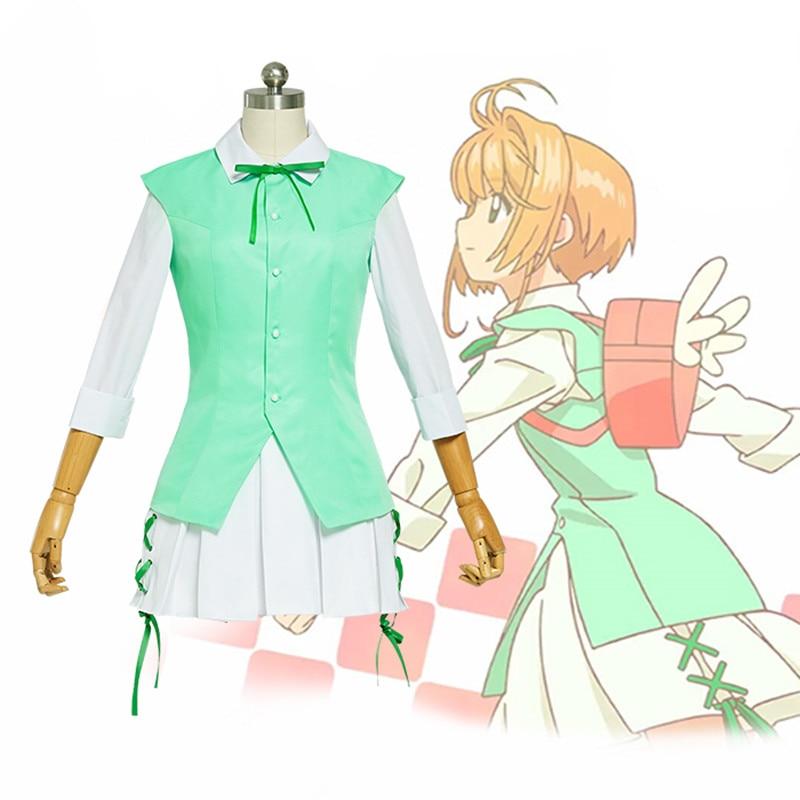 Japonais Anime carte Captors Sakura Kinomoto Cosplay Costume robe uniforme