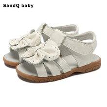 Новые летние детские сандалии для девочек из натуральной кожи галстук бабочка туфли принцессы Детские пляжные сандалии для малышей обувь белого цвета