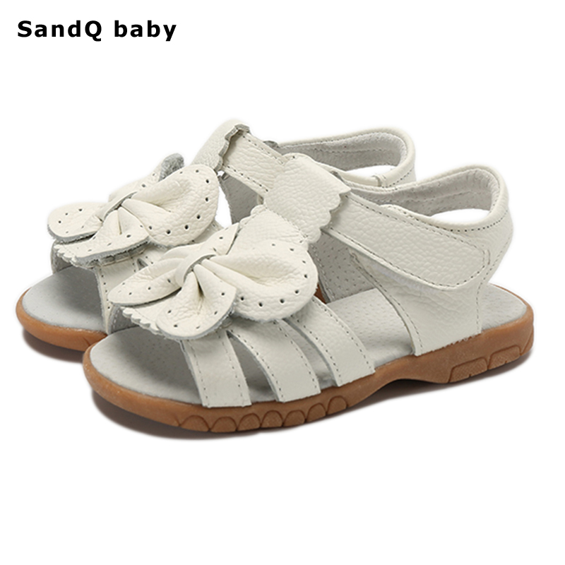 2018 New Summer Children Sandals for Girls Genuine Leather Bowtie Princess Shoes Kids Beach Sandals Baby Toddler Shoes White