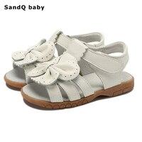 2018 New Summer Enfants Sandales pour Filles En Cuir Véritable Bowtie Princesse Chaussures Enfants Plage Sandales Bébé En Bas Âge Chaussures Blanc