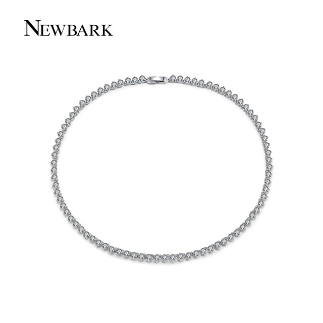 NEWBARK Classic Long Necklace Circle Rhinestone Jewelry With AAA Cubic Zirconia Stunning Choker Chain Wedding Femme Accessories