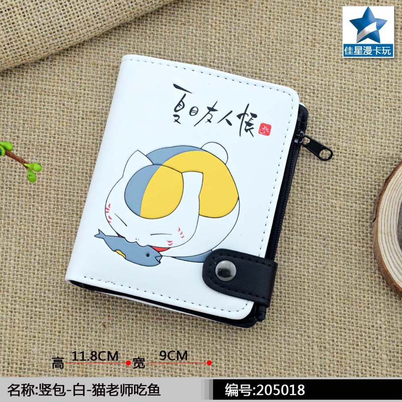 Anime Natsume Yuujinchou PU White Zero Wallet/ the Foodie Nyanko Sensei Coin Purse with Interior Zipper Pocket
