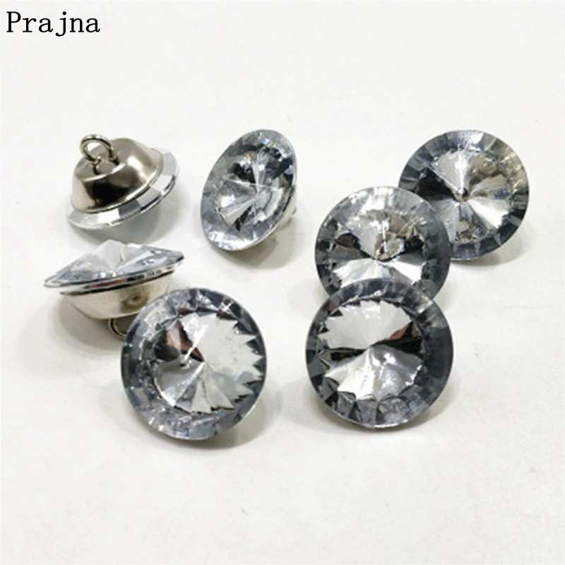 Prajna 50PCS/Lot Rhinestone <font><b>Buttons</b></font> 20mm 25mm <font><b>30mm</b></font> Rhinestone Crystal <font><b>Button</b></font> For Clothing Sofa Craft Handmade Sewing Accessories image
