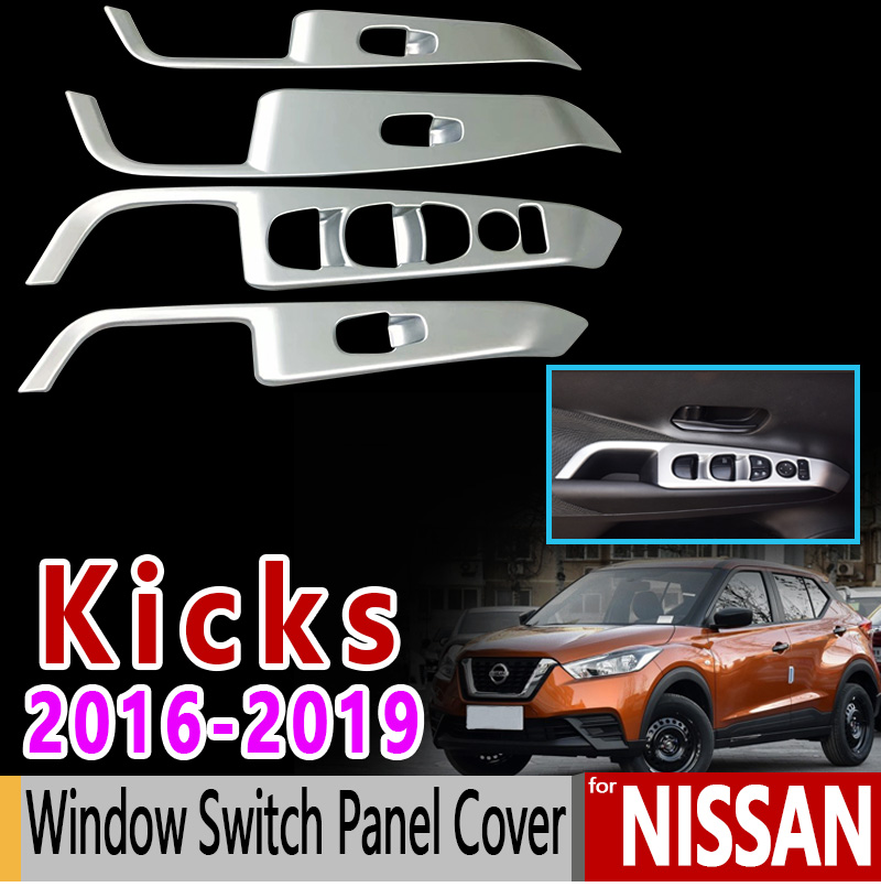 for Nissan Kicks Luxury High Quality Carbon Fiber Chrome Window Switch Panel Cover 2016 2017 2018 2019 Car Accessories Stickers 2016 mini clubman one coopers side door power window switch center console panel covers accessories car stickers for f54 6 door