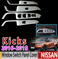 for Nissan Kicks Luxury High Quality Carbon Fiber Chrome Window Switch Panel Cover 2016 2017 2018 2019 Car Accessories Stickers