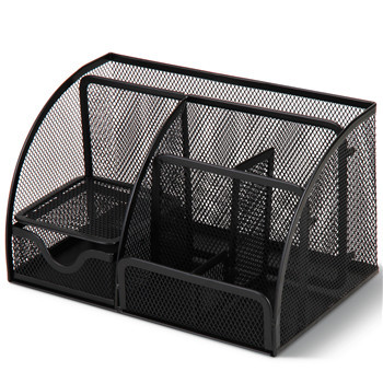 Layered Grid Black Metal Mesh Pen Holder For Office Desk Organizer  Container With