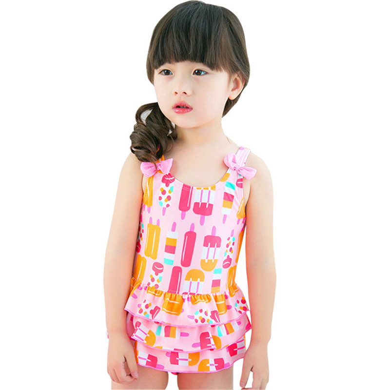 Kids Baby Girls One Piece Swimwear Ice Cream Print Bathing Suit Summer Beachwear