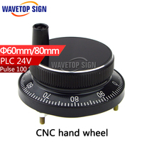 CNC Electronic Hand Wheel Diameter 60mm Input DC 24v 4 Pin Hand Wheel Black Color