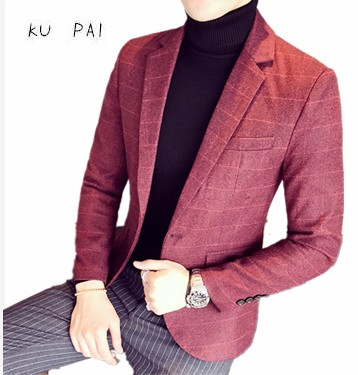 2017 new products on the new men red lattice business casual small suit male casual business casual Korean version of the suit m