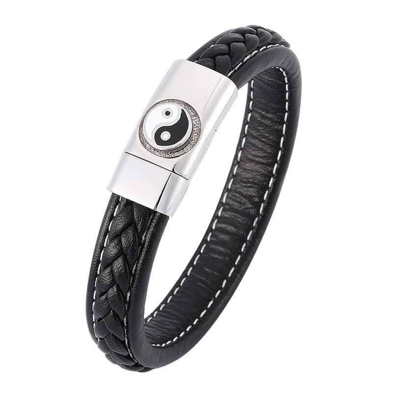 Chinese Style Tai Chi Ying Yang Bracelet Men Black Braided Leather Wristband Bracelet Male Punk Jewelry Magnetic Buckle SP0352