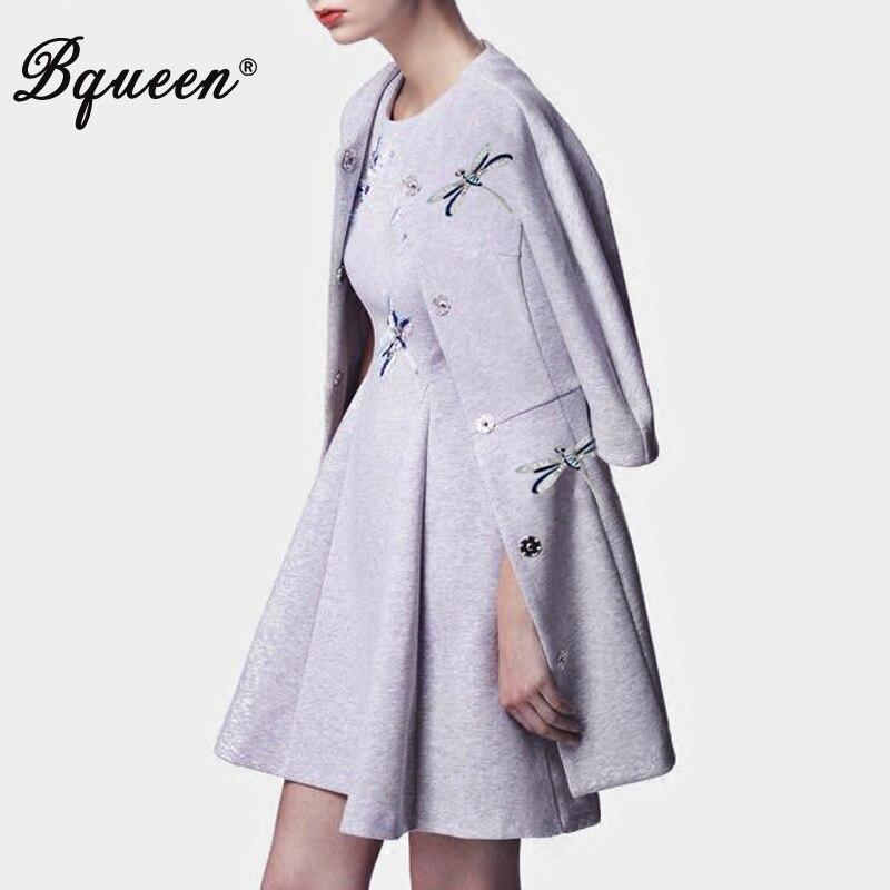 Bqueen 2017 Autumn & Winter New Fashion Embroidery Diamonds Temperament Long Woolen Women Coat