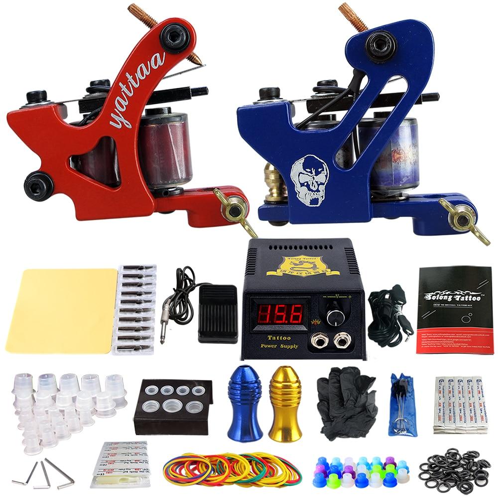 Здесь продается  Complete Tattoo Machine Kit Set 2 Coils Guns Sets Grips Body Arts Supplies Needles Tips Tattoo Beginner Kits TK202-34  Красота и здоровье