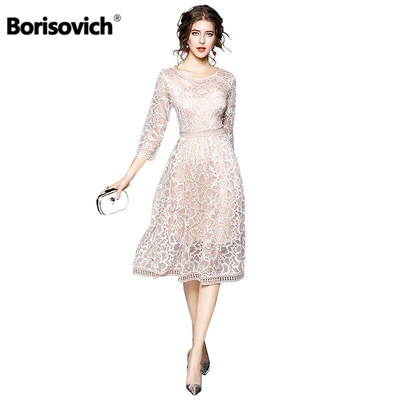 62321ceb64b Borisovich Women Casual Dress 2018 Autumn New Arrival Fashion Elegant Slim  Bohemian Style Women Lace Patchwork