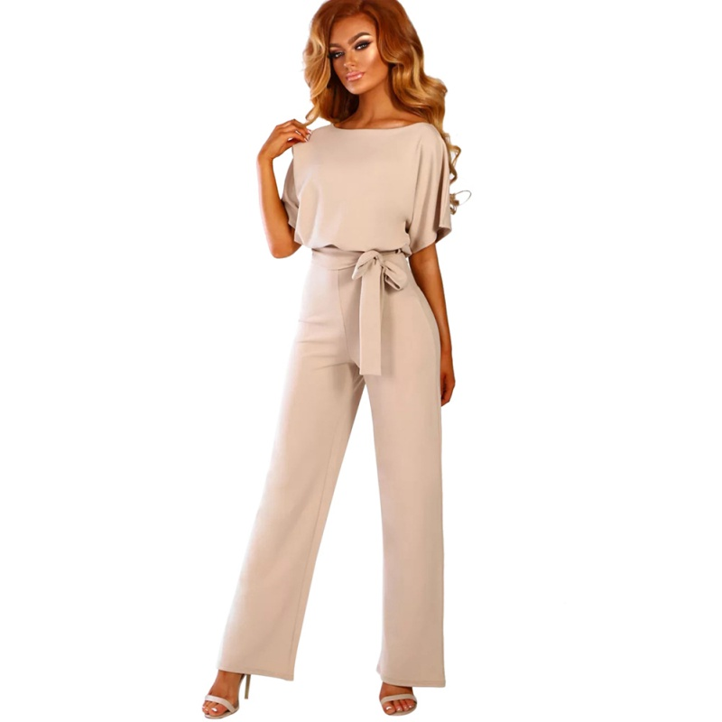 2019 Multicolor Short Sleeve Belted Summer Office Lady   Jumpsuits   Plus Size Longline   Jumpsuits   Women High Street   Jumpsuits
