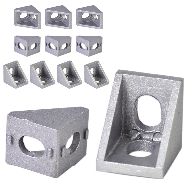 10pcs Aluminum Right Corner Angle Bracket 90 Degree Corner Joint Brace Brackets for Furniture Hardware Tools 10 pcs lot silver color metal corner brace right angle l shape bracket 20mm x 20mm home office furniture decoration accessories
