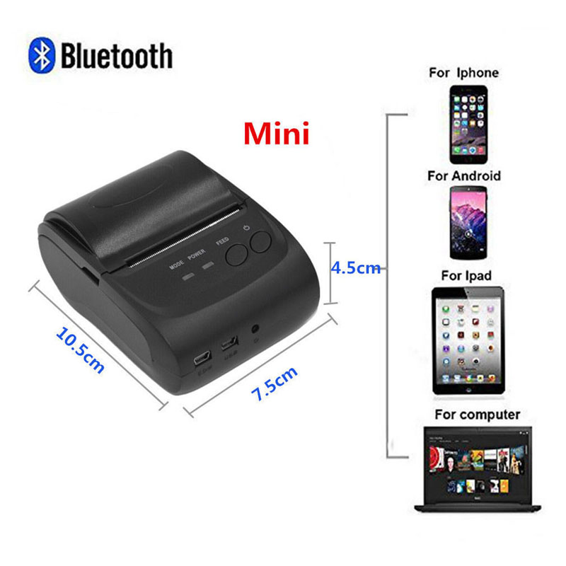 все цены на Mini Wireless 58mm Portable Bluetooth Thermal Printer Receipt for Android Mobile New And High Quality