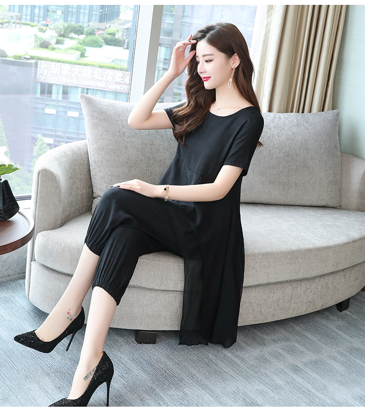 2019 Summer Linen Two Piece Sets Women Plus Size Short Sleeve Tops And Cropped Pants Suits Office Elegant Casual Women's Sets 62